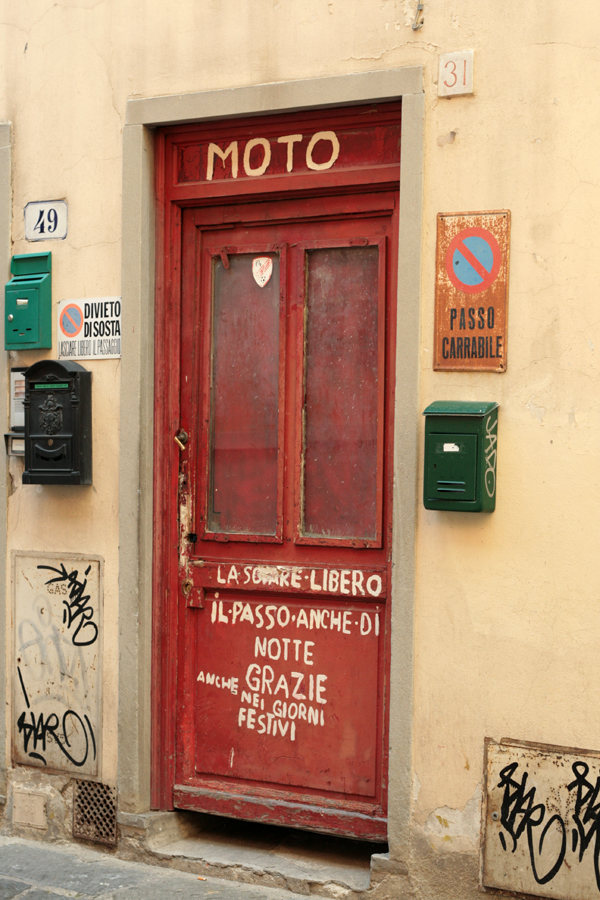 Vernacular Typography Florence Italy Italian hand-painted sign on door