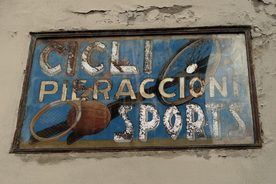 Vernacular Typography Florence Italy Italian cicli sports glass sign