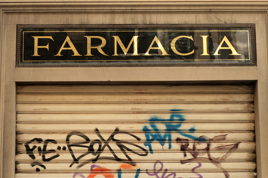 Vernacular Typography Florence Italy Italian gold leaf pharmacy farmacia sign