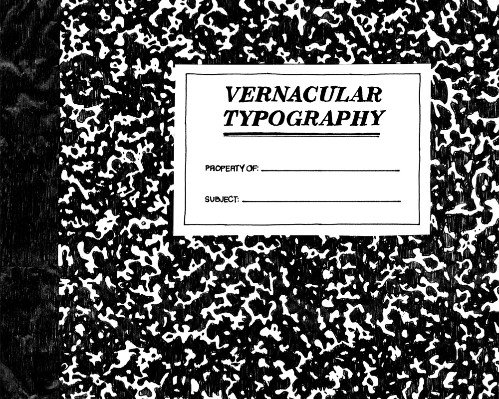 Hand drawn pen composition notebook pattern vernacular typography kickstarter