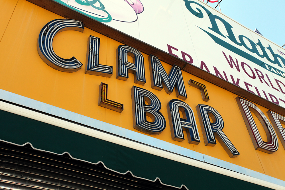 Vernacular Typography Coney Island Nathan's Neon Sign Clam Bar
