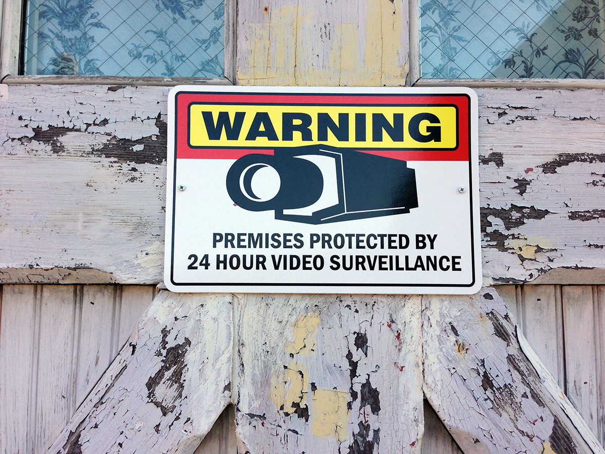Vernacular Typography 24 Hour Video Surveillance Signage
