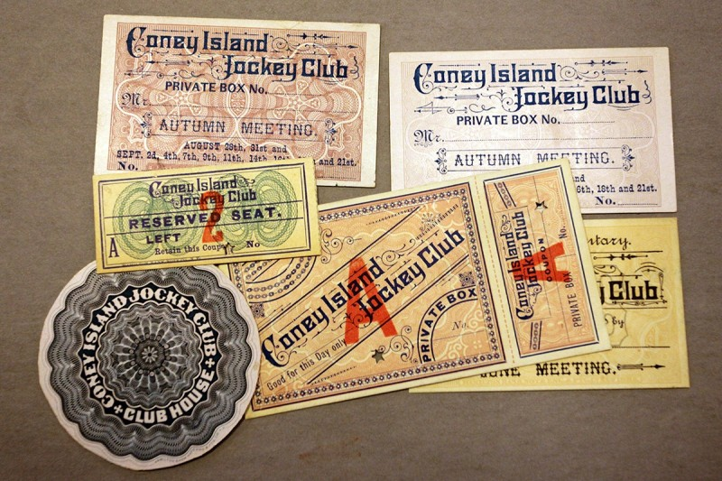 Woodward Vernacular Typography Brooklyn Historical Society Library Coney Island Jockey Club Tickets