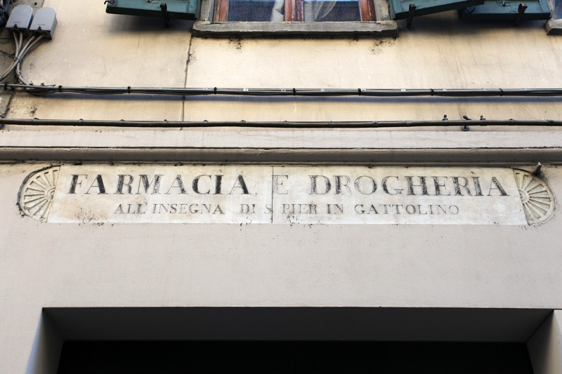 Molly Woodward Vernacular Typography Florence Italy Farmacia e Drogheria carved sign