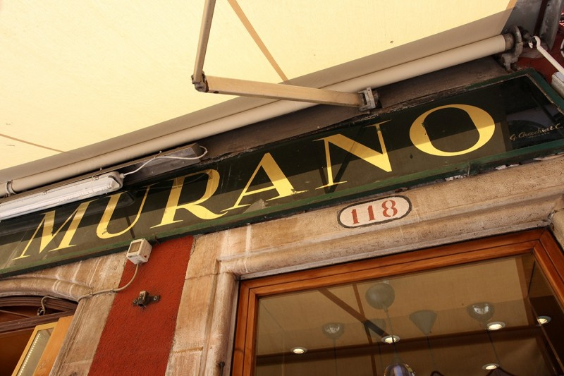 Vernacular Typography Venice Italy Murano Gold Glass Sign