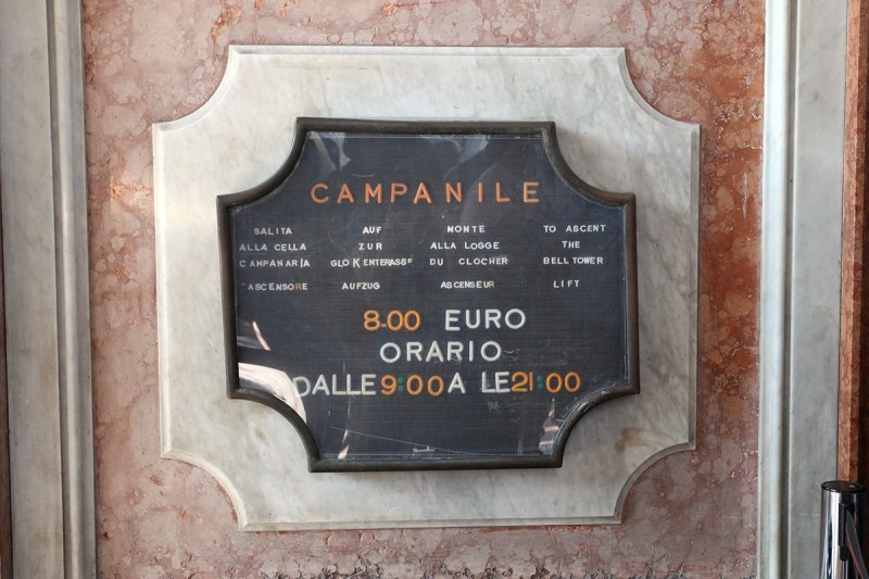Vernacular Typography Venice Italy San Marco Campanile Hours Sign
