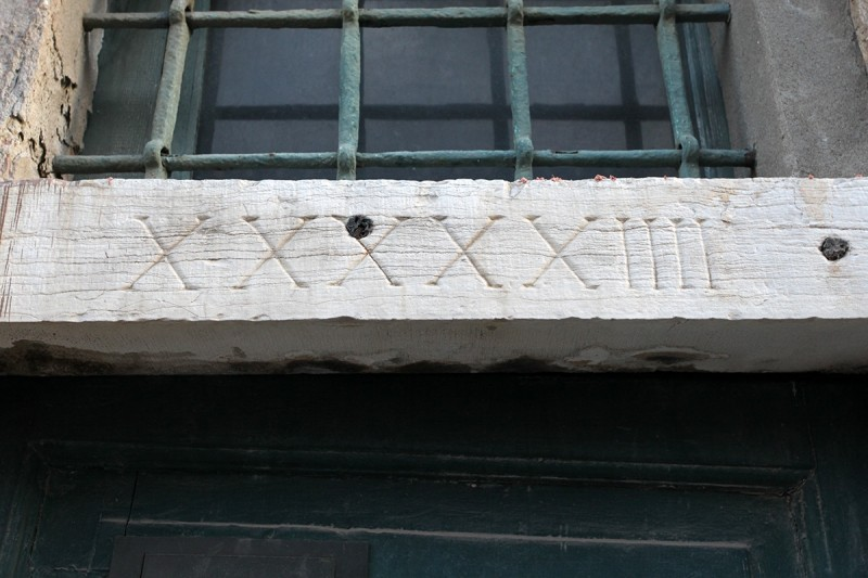 Vernacular Typography Venice Italy XXXXXIIII Doorway Inscription