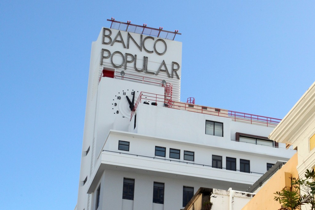 San Juan Puerto Rico Vernacular Typography Banco Popular Art Deco Building and Clock